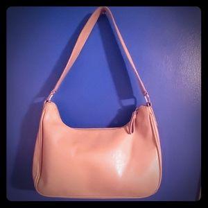 Liz Claiborne top zip shoulder purse red lined